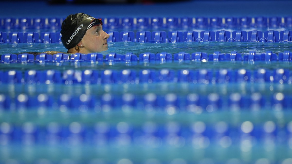 Katie Ledecky participates in the women's 1500 freestyle during wave 2 of the U.S. Olympic Swim...