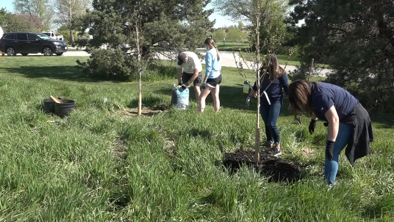 Volunteers plant 75 trees at Papillion campground for Arbor Day