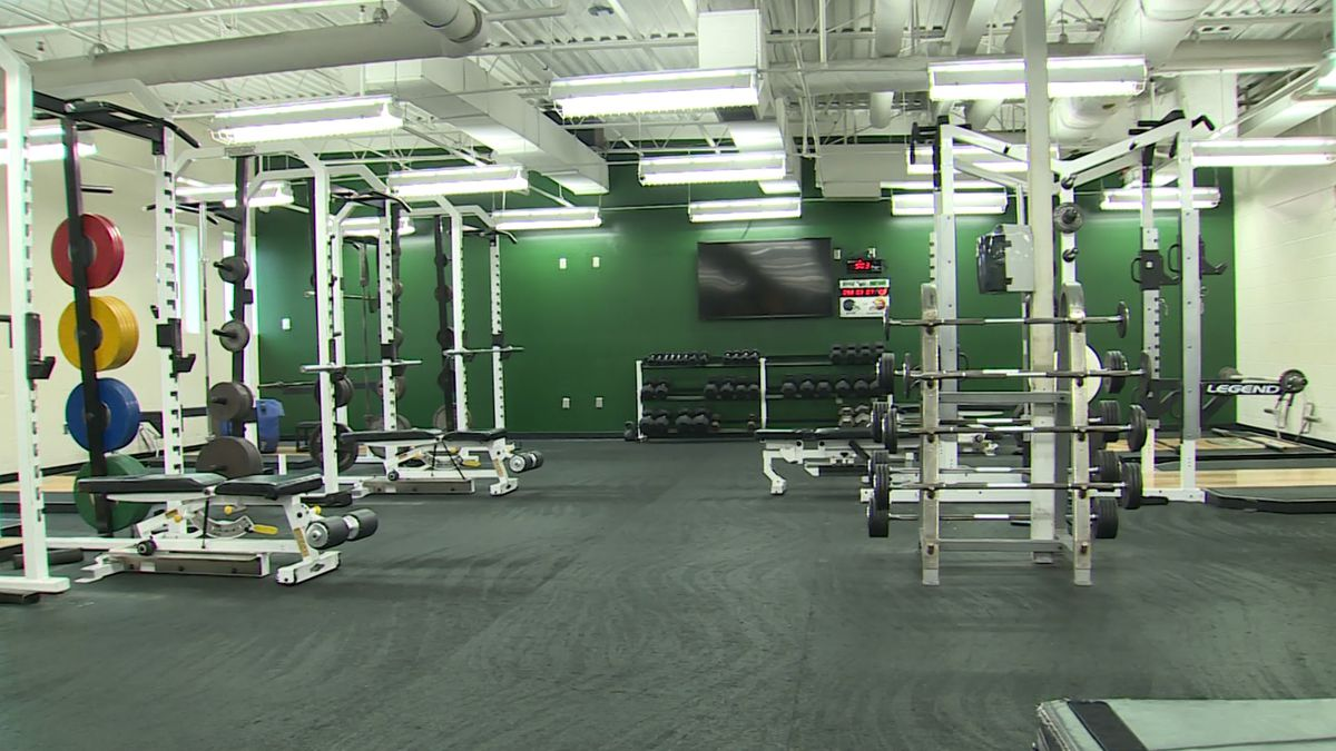 The weight room at Skutt Catholic High School on Wednesday, 5/27/20. (Rex Smith)