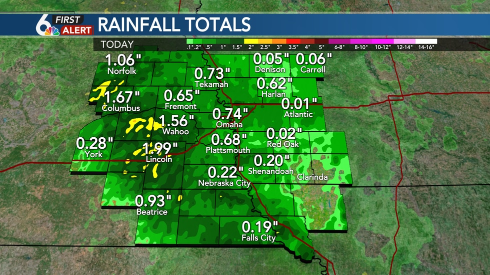 Rainfall Amounts from Friday Morning