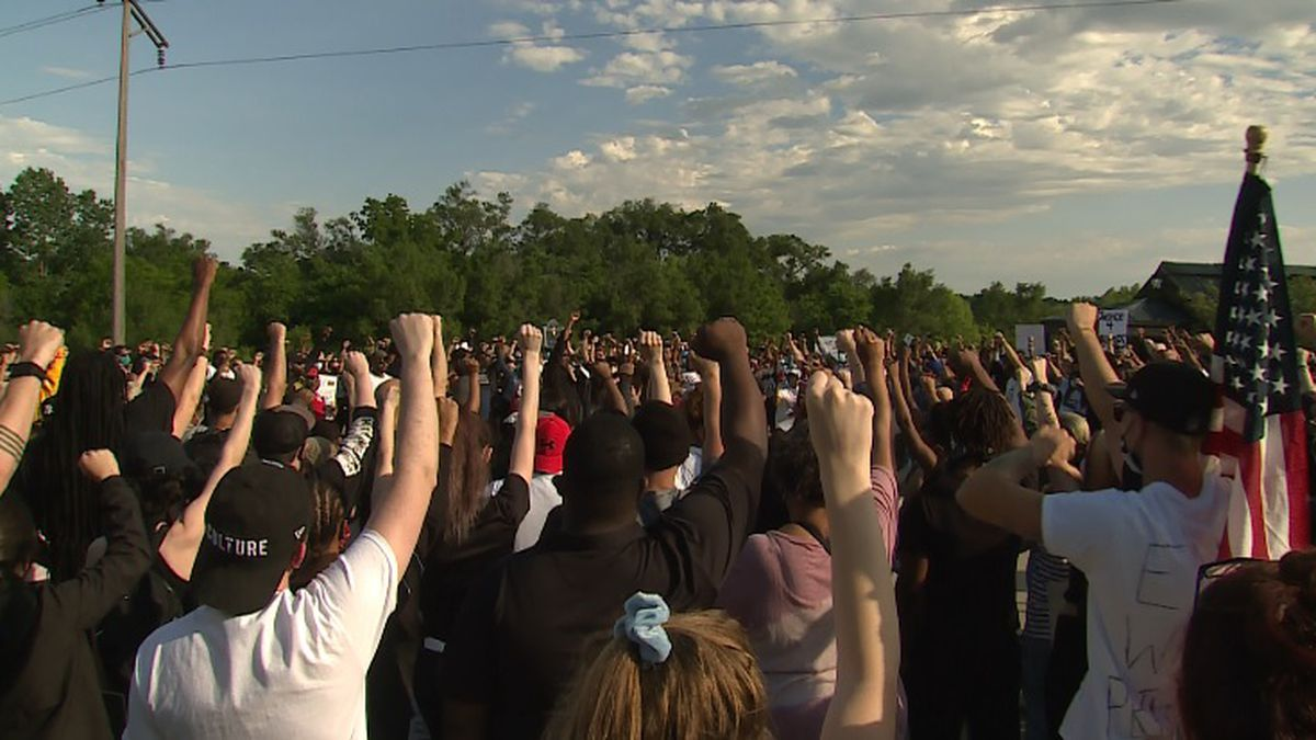 Hundreds gather at Malcolm X Foundation in Omaha for peaceful rally on Sunday, 5/31/20. (Rex...