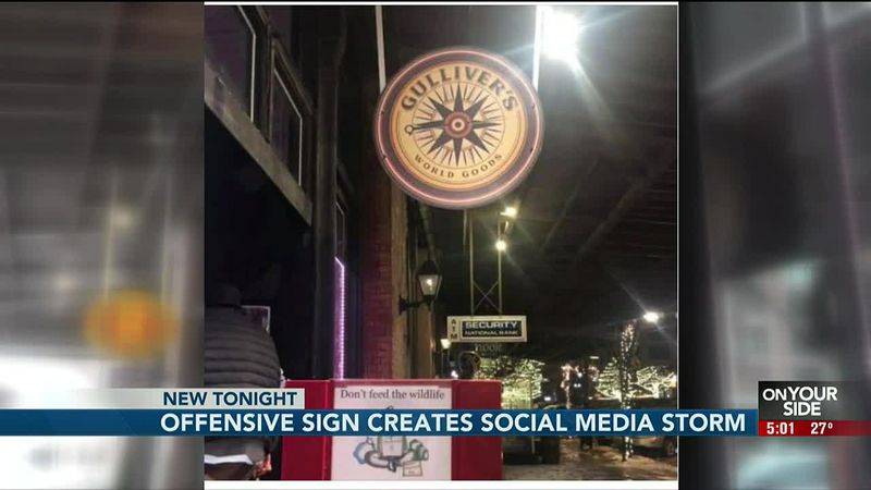 Offensive sign creates social media storm