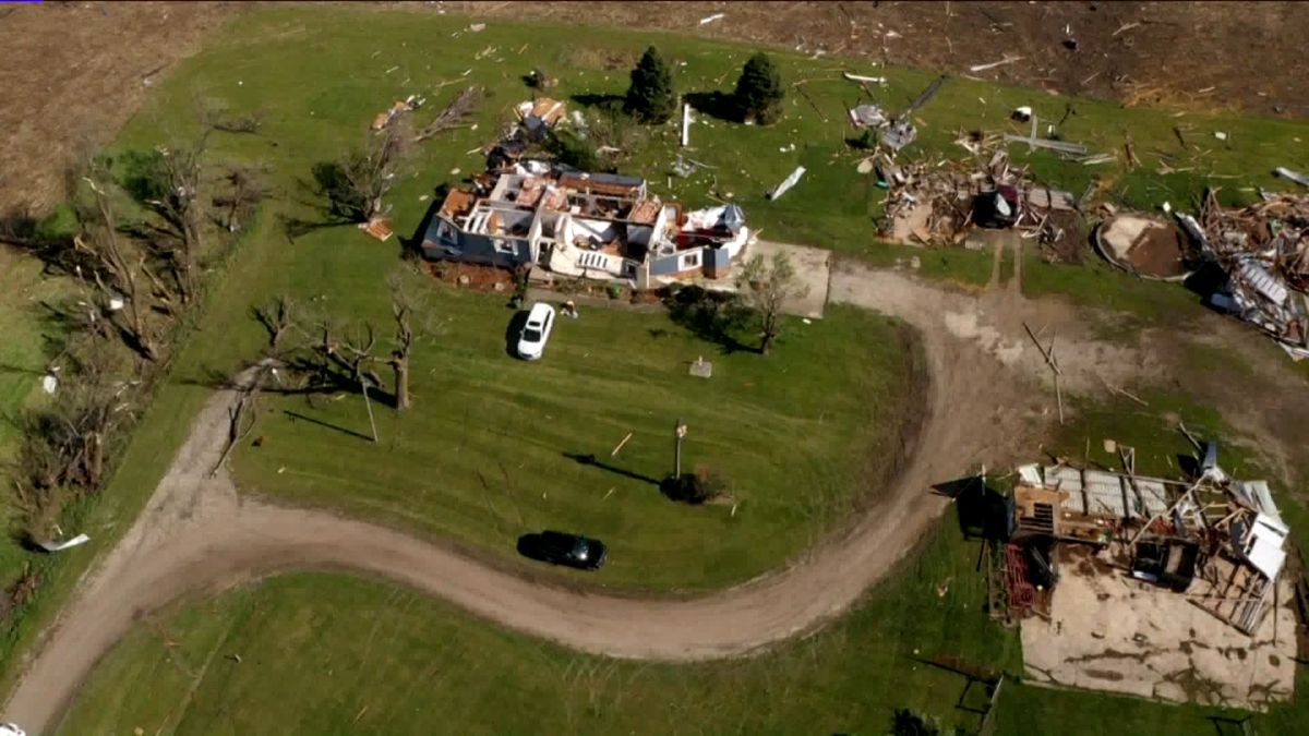 Drone video from WHO-TV in Des Moines shows damage from the fatal EF-2 tornado that hit Adair, Iowa, early Wednesday morning.