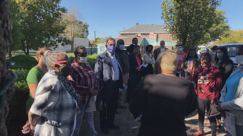 Rep. Don Bacon meets with North Omaha residents on a tour of historic locations.