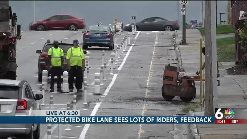 The addition of a protected bike lane has Omaha residents excited to finally be able to bike in...
