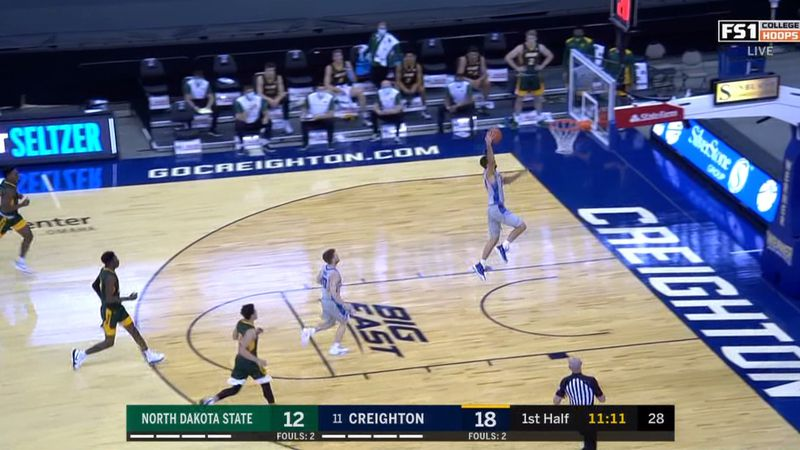 Creighton's Mitch Ballock reached 1,000 career points un Sunday against North Dakota State...