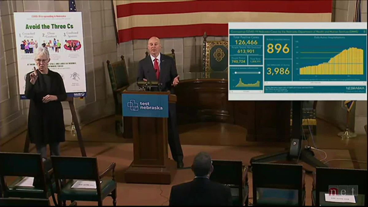 Gov. Pete Ricketts answers questions after an update on the Nebraska COVID-19 response.