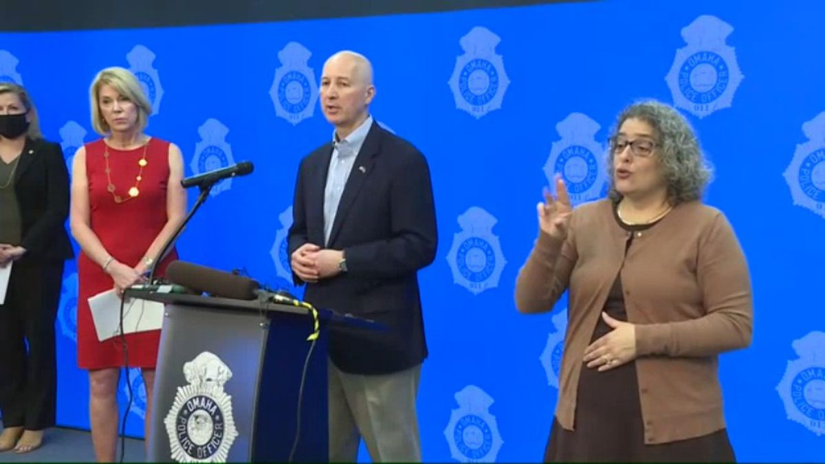 Omaha Mayor Jean Stothert, left, and Gov. Pete Ricketts hold a news conference Sunday, May 31,...