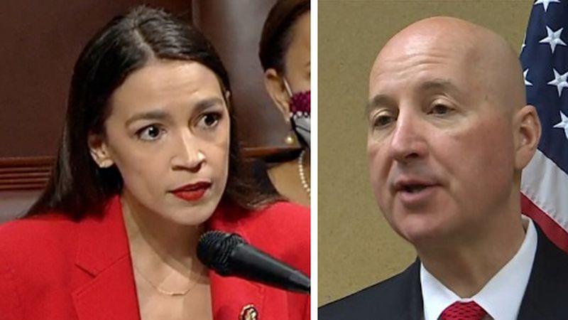 New York Congresswoman Alexandria Ocasio-Cortez, left, and Nebraska Gov. Pete Ricketts
