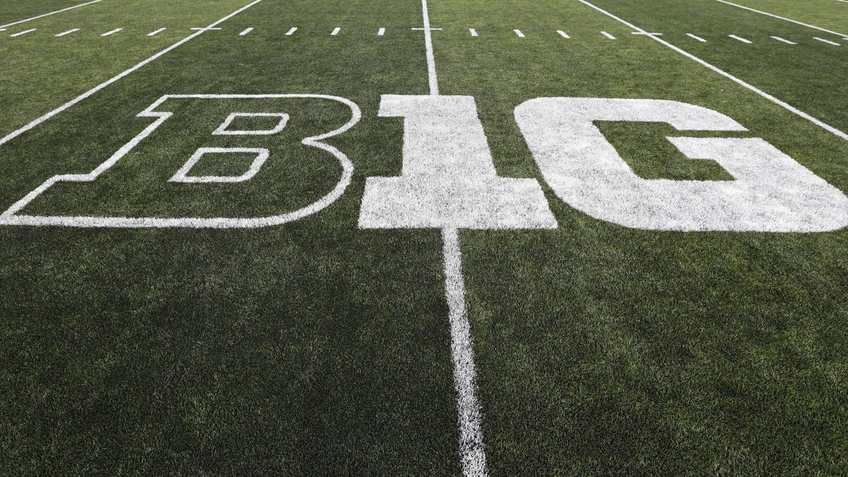 In this Aug. 31, 2019, file photo, the Big Ten logo is displayed on the field before an NCAA...