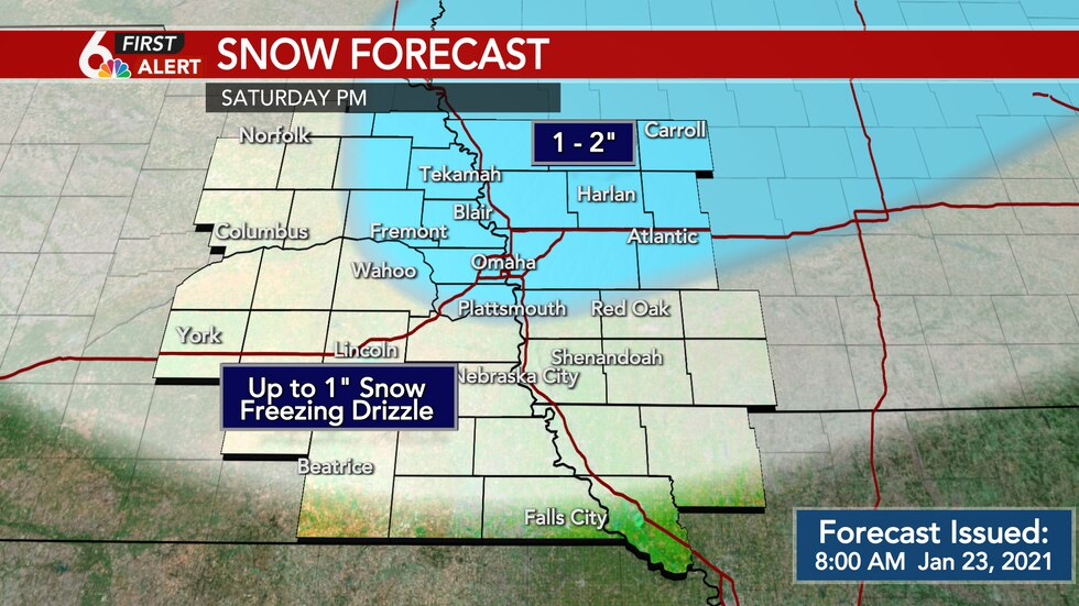 Snowfall forecast through Saturday night